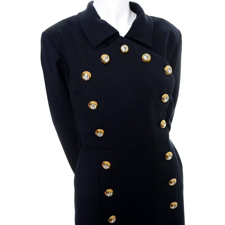 Women's Yves Saint Laurent Vintage YSL Dress Navy Crystal Buttons Saks Fifth Avenue For Sale