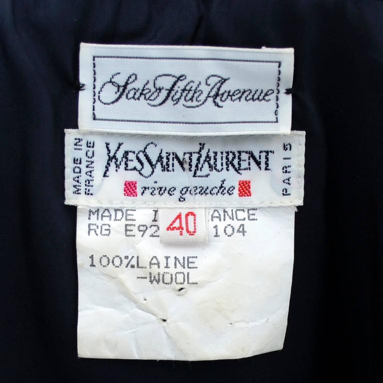 Yves Saint Laurent Vintage YSL Dress Navy Crystal Buttons Saks Fifth Avenue For Sale 3