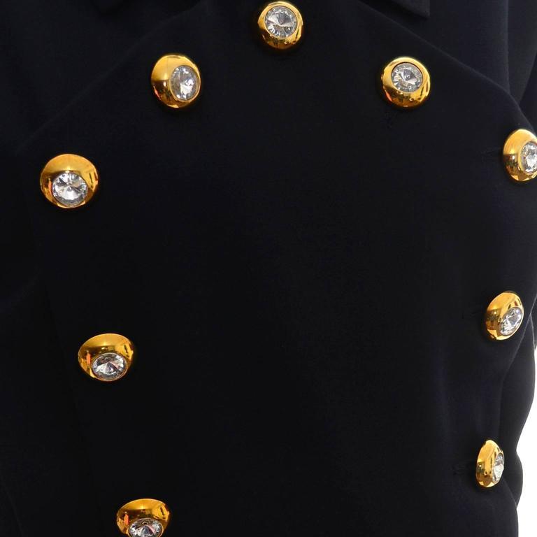 Yves Saint Laurent Vintage YSL Dress Navy Crystal Buttons Saks Fifth Avenue For Sale 1