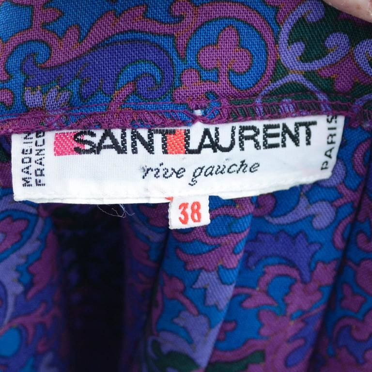 YSL Yves Saint Laurent 2 pc Vintage Dress Jewel Tone Skirt Blouse 5