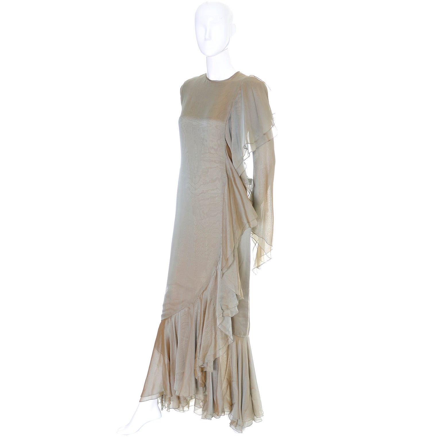 Bill Blass Vintage Dress Iridescent Silk Chiffon Evening Gown With ...