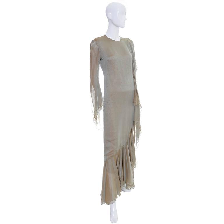 b364b56c6da Bill Blass Vintage Dress Iridescent Silk Chiffon Evening Gown With Ruffles In  Excellent Condition For Sale