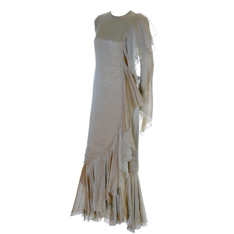 Bill Blass Vintage Dress Iridescent Silk Chiffon Evening Gown With ...