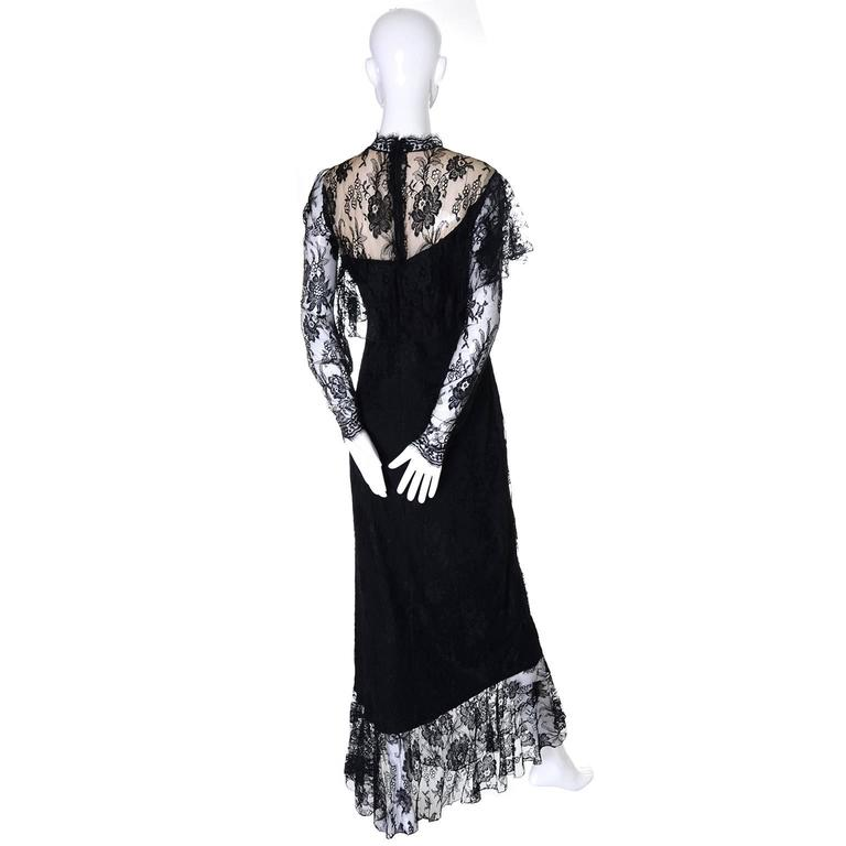 Loris Azzaro Vintage Dress Black Lace Victorian Style 1980s Evening Gown France 7