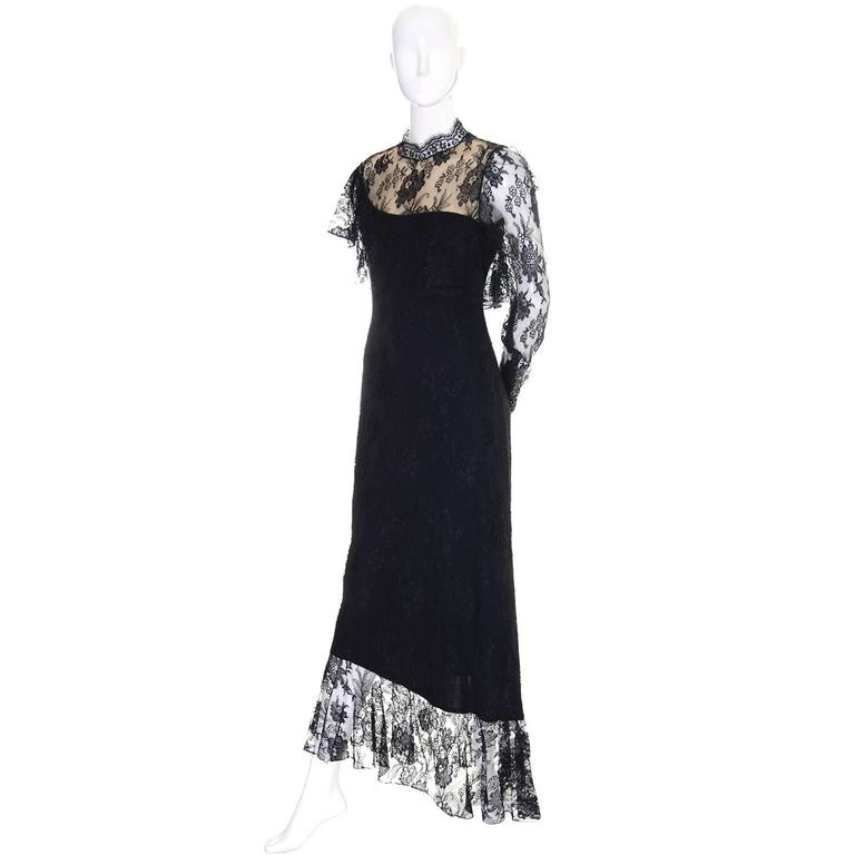 Loris Azzaro Vintage Dress Black Lace Victorian Style 1980s Evening Gown France 3