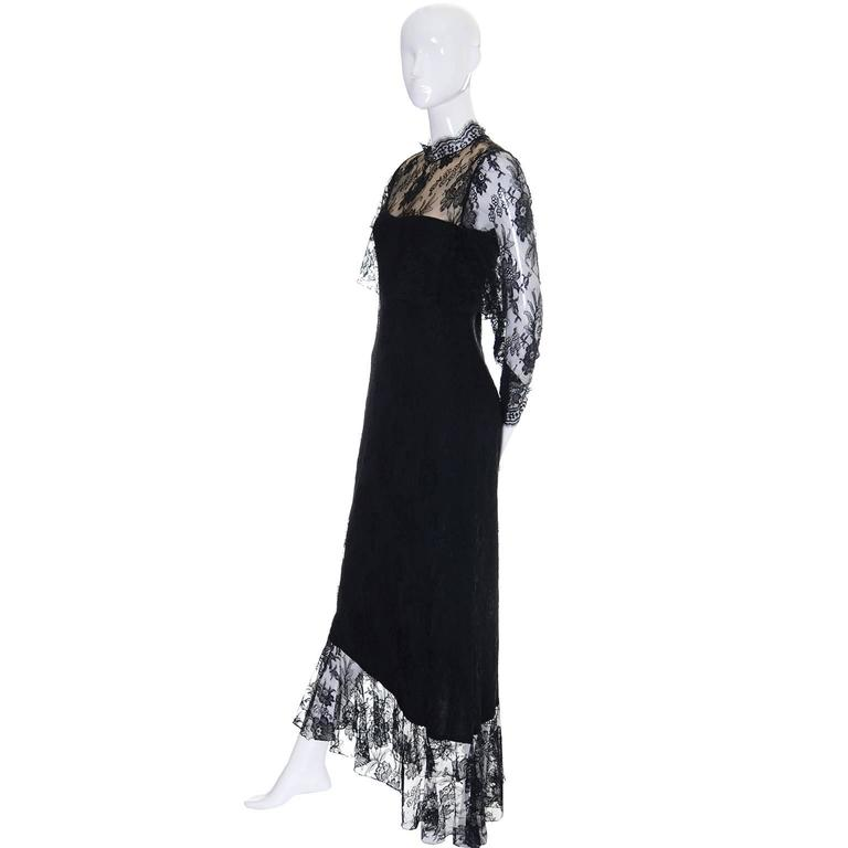 Loris Azzaro Vintage Dress Black Lace Victorian Style 1980s Evening Gown France 2