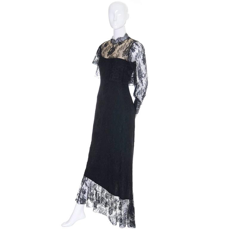 Loris Azzaro Vintage Dress Black Lace Victorian Style 1980s Evening ...