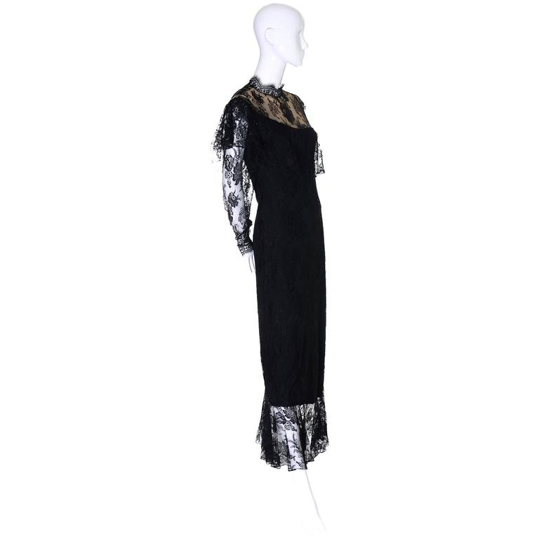 Loris Azzaro Vintage Dress Black Lace Victorian Style 1980s Evening Gown France 6