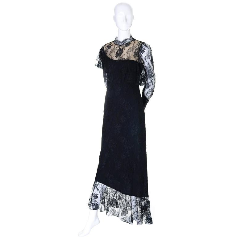 Loris Azzaro Vintage Dress Black Lace Victorian Style 1980s Evening Gown France 9