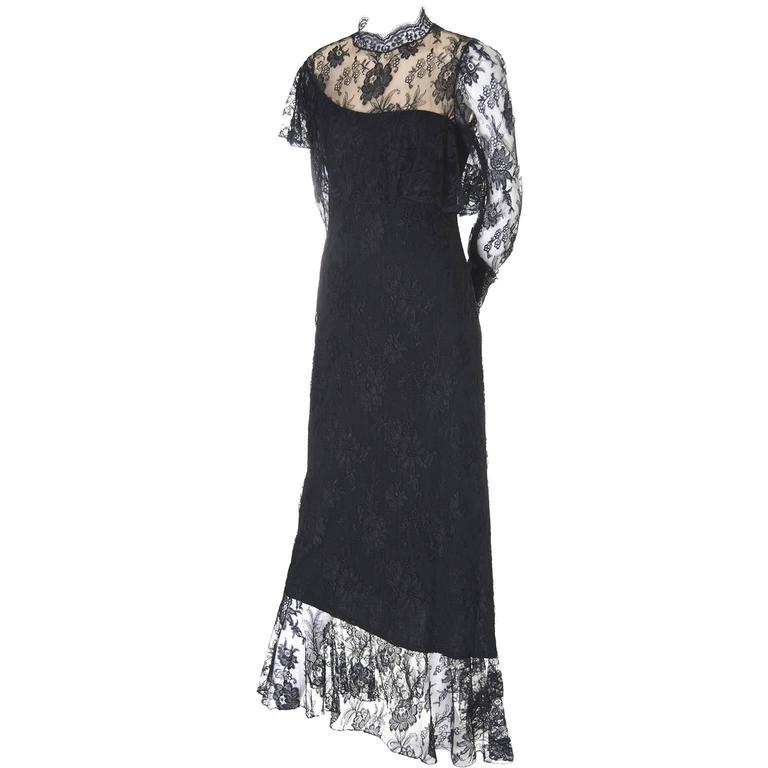 Loris Azzaro Vintage Dress Black Lace Victorian Style 1980s Evening Gown France 1