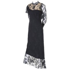 Loris Azzaro Vintage Dress Black Lace Victorian Style 1980s Evening Gown France