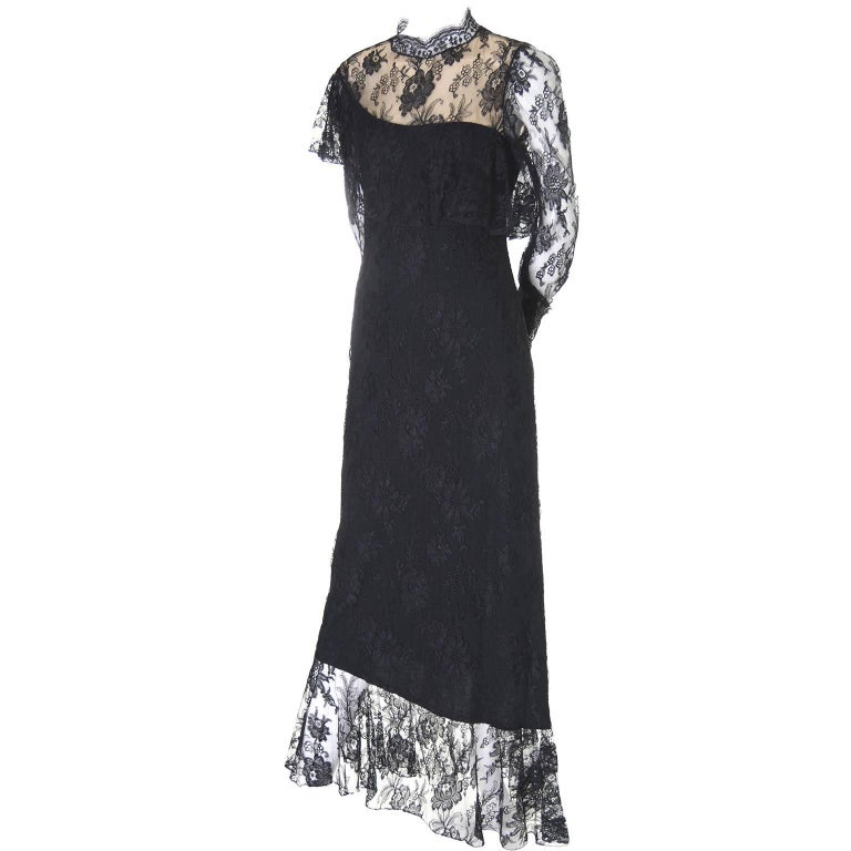 Loris Azzaro Vintage Dress Black Lace Victorian Style 1980s Evening Gown France For Sale