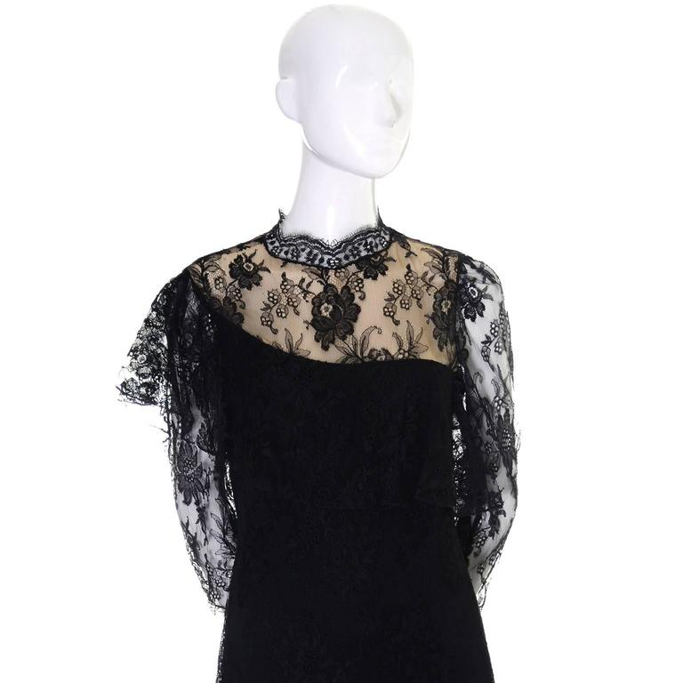 Loris Azzaro Vintage Dress Black Lace Victorian Style 1980s Evening Gown France For Sale 1