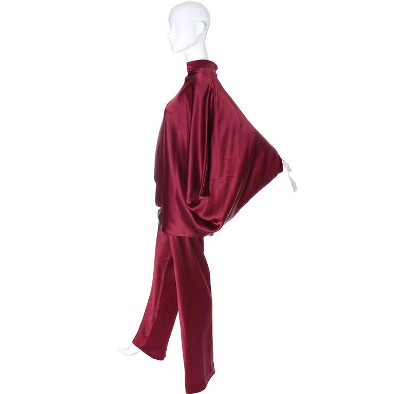 George Stavropoulos Evening Outfit Pants Top Luxurious Burgundy Silk Draping 2