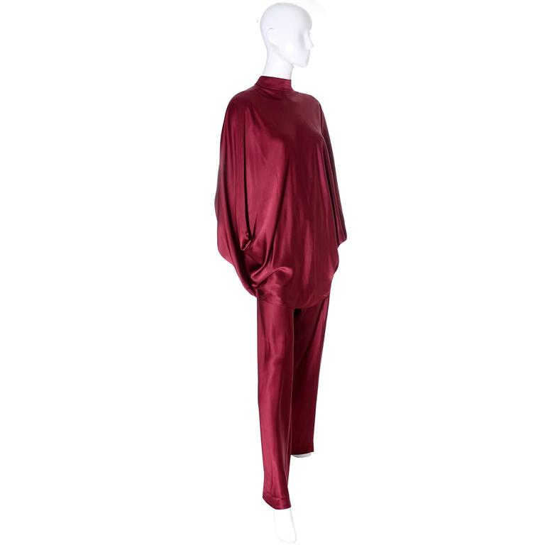 George Stavropoulos Evening Outfit Pants Top Luxurious Burgundy Silk Draping 3