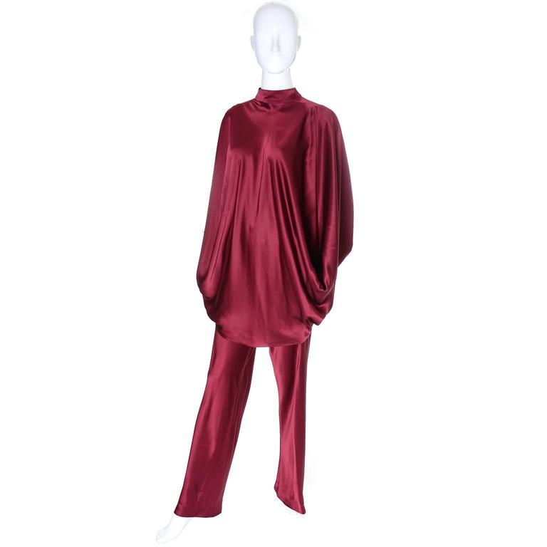 George Stavropoulos Evening Outfit Pants Top Luxurious Burgundy Silk Draping 4