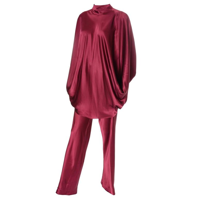 George Stavropoulos Evening Outfit Pants Top Luxurious Burgundy Silk Draping 1