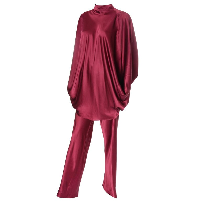 1970s George Stavropoulos Vintage Evening Outfit w Pants & Top in Burgundy Silk