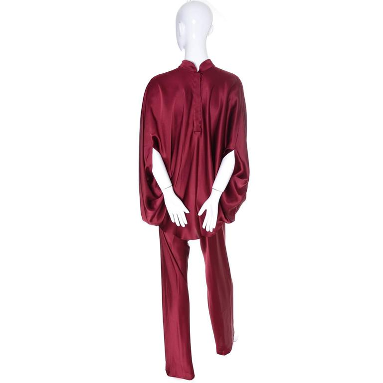 George Stavropoulos Evening Outfit Pants Top Luxurious Burgundy Silk Draping 5