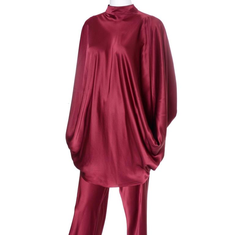 George Stavropoulos Evening Outfit Pants Top Luxurious Burgundy Silk Draping 6