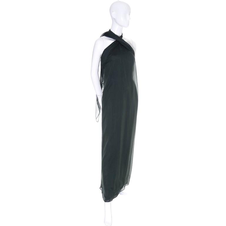 1990s Vintage Oscar de la Renta Dress Evening Gown in Green Silk Chiffon w Scarf In Excellent Condition For Sale In Portland, OR