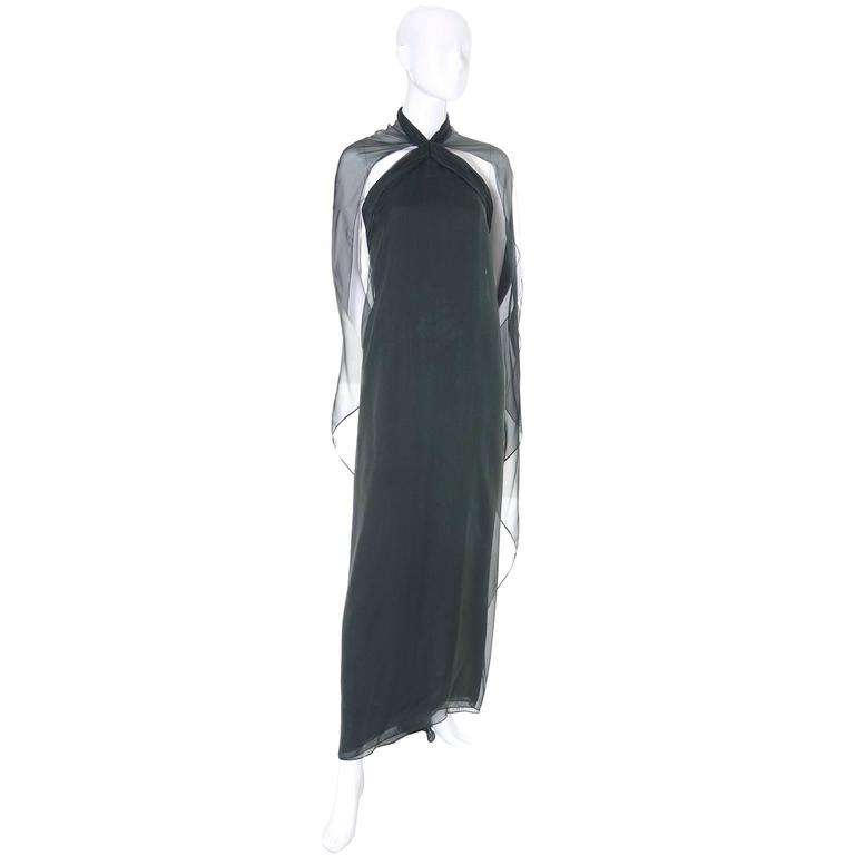 Black 1990s Vintage Oscar de la Renta Dress Evening Gown in Green Silk Chiffon w Scarf For Sale