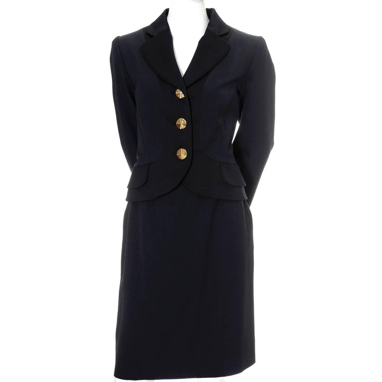YSL Yves Saint Laurent Vintage Suit Midnight Blue Black Satin Trim Blazer Skirt 2