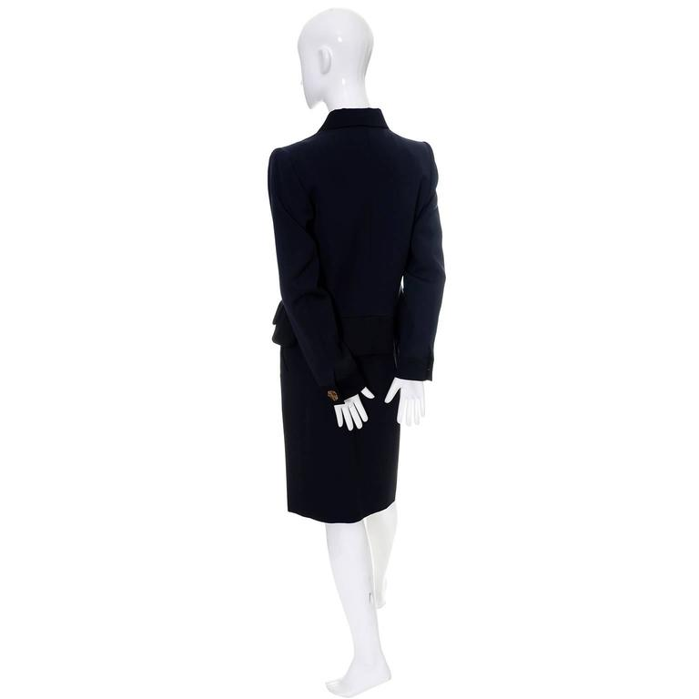 YSL Yves Saint Laurent Vintage Suit Midnight Blue Black Satin Trim Blazer Skirt 4