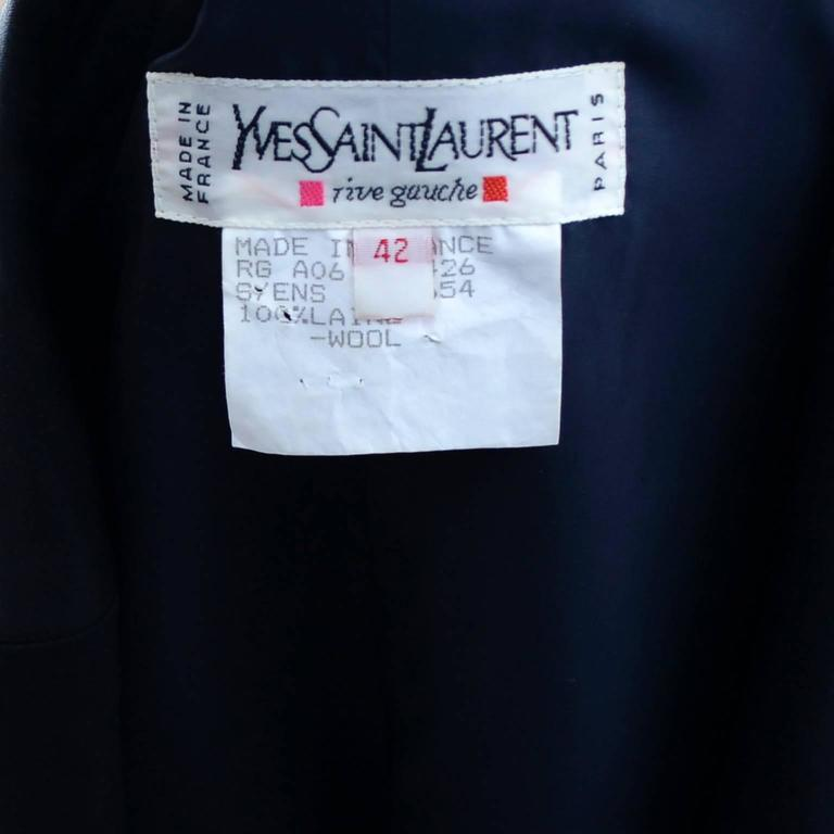 YSL Yves Saint Laurent Vintage Suit Midnight Blue Black Satin Trim Blazer Skirt 6