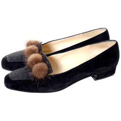 Rene Mancini Paris Vintage Shoes w/box Size 38.5 Mink Pom Poms Velvet Wool 8