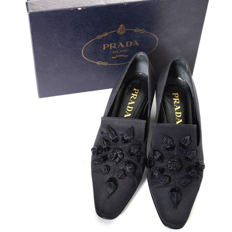 1990s Black Vintage Prada Loafer Shoes With Roses