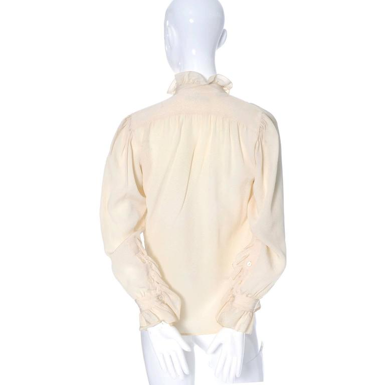 YSL Top 1970s Vintage Yves Saint Laurent Silk Blouse Ruffles Cream  In Excellent Condition For Sale In Portland, OR