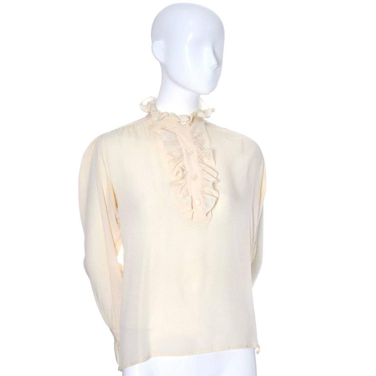 Women's YSL Top 1970s Vintage Yves Saint Laurent Silk Blouse Ruffles Cream  For Sale