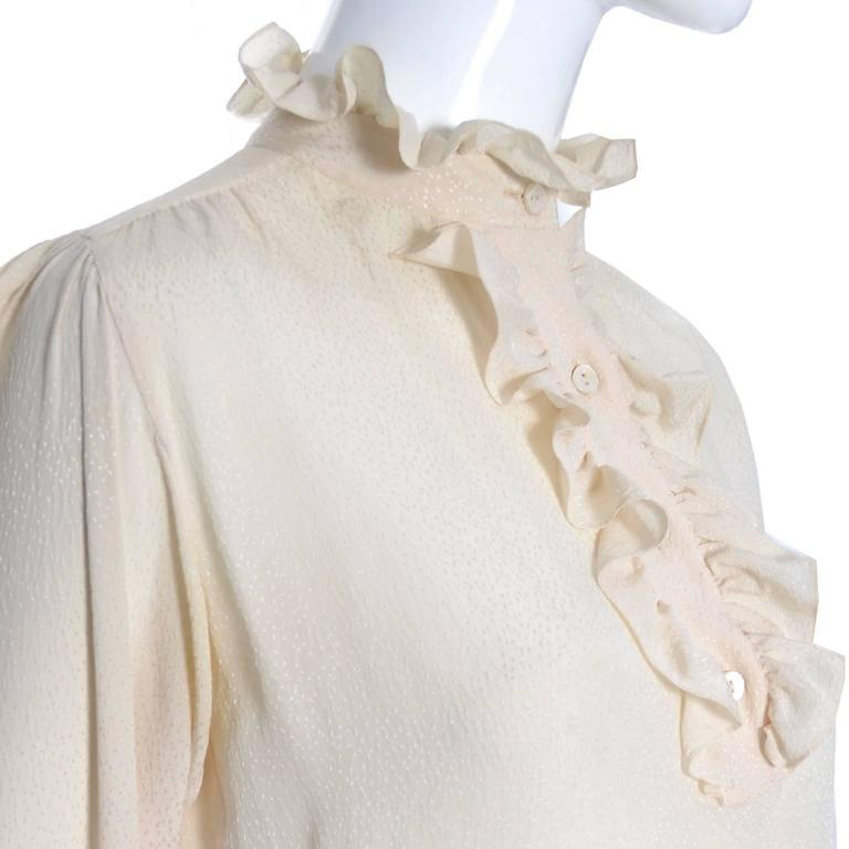 Beige YSL Top 1970s Vintage Yves Saint Laurent Silk Blouse Ruffles Cream  For Sale