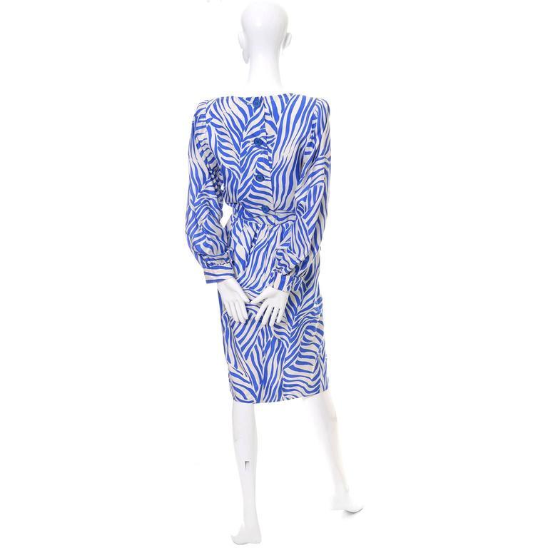 Purple 1980s YSL Vintage Dress Yves Saint Laurent Abstract Bold Zebra Print Blue Sz 36 For Sale