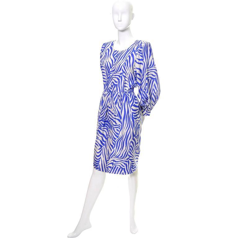 Women's 1980s YSL Vintage Dress Yves Saint Laurent Abstract Bold Zebra Print Blue Sz 36 For Sale