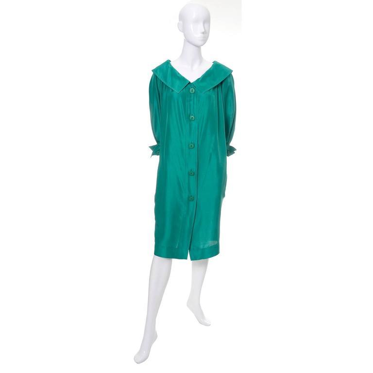 Blue Vintage YSL Dress Yves Saint Laurent Rive Gauche Size 38 Green Silk 1970s For Sale