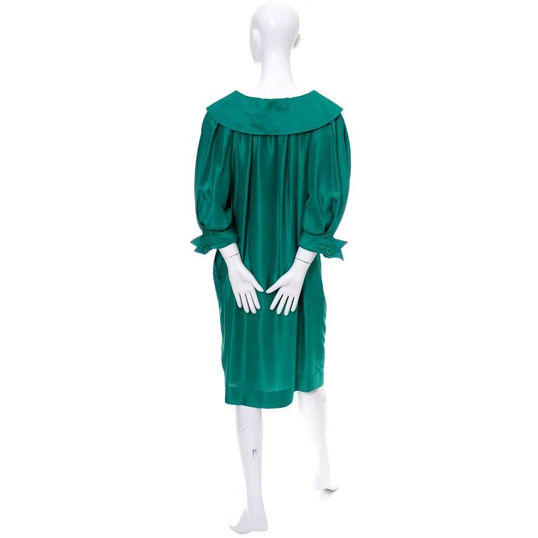 Vintage YSL Dress Yves Saint Laurent Rive Gauche Size 38 Green Silk 1970s In Excellent Condition For Sale In Portland, OR