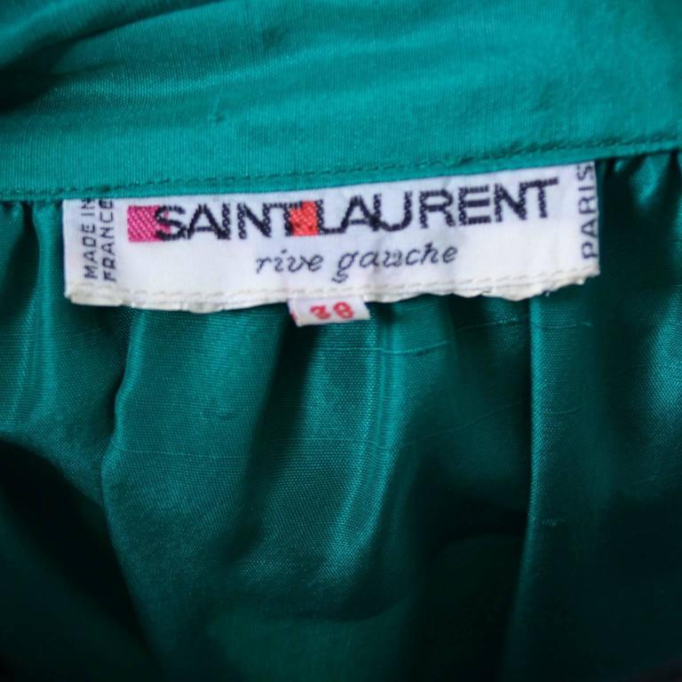Women's Vintage YSL Dress Yves Saint Laurent Rive Gauche Size 38 Green Silk 1970s For Sale