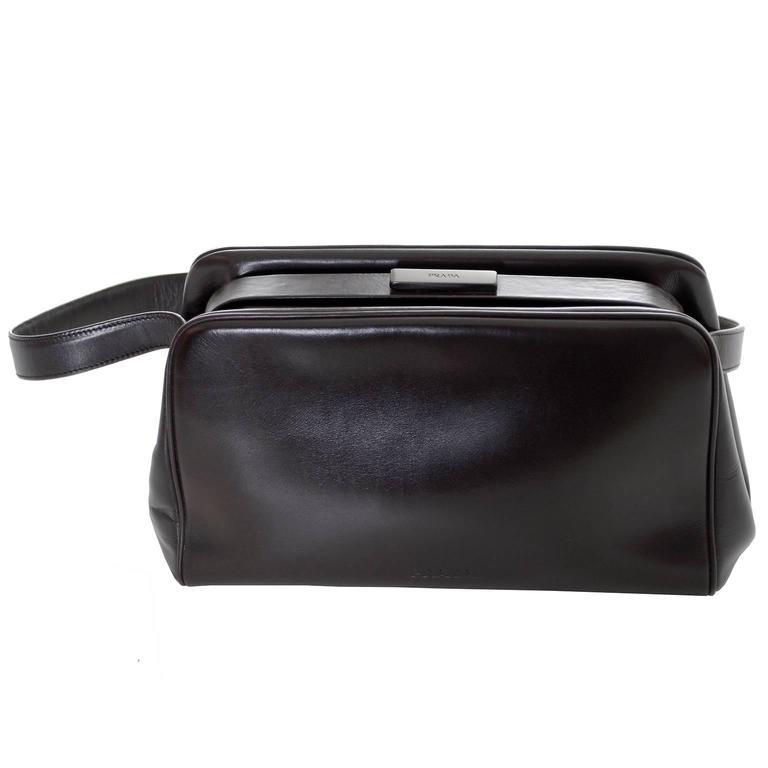 Vintage Prada Handbag Chocolate Brown Leather Shoulder Bag 2