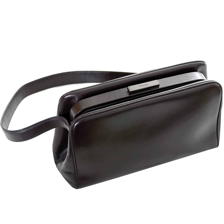 Vintage Prada Handbag Chocolate Brown Leather Shoulder Bag For ...