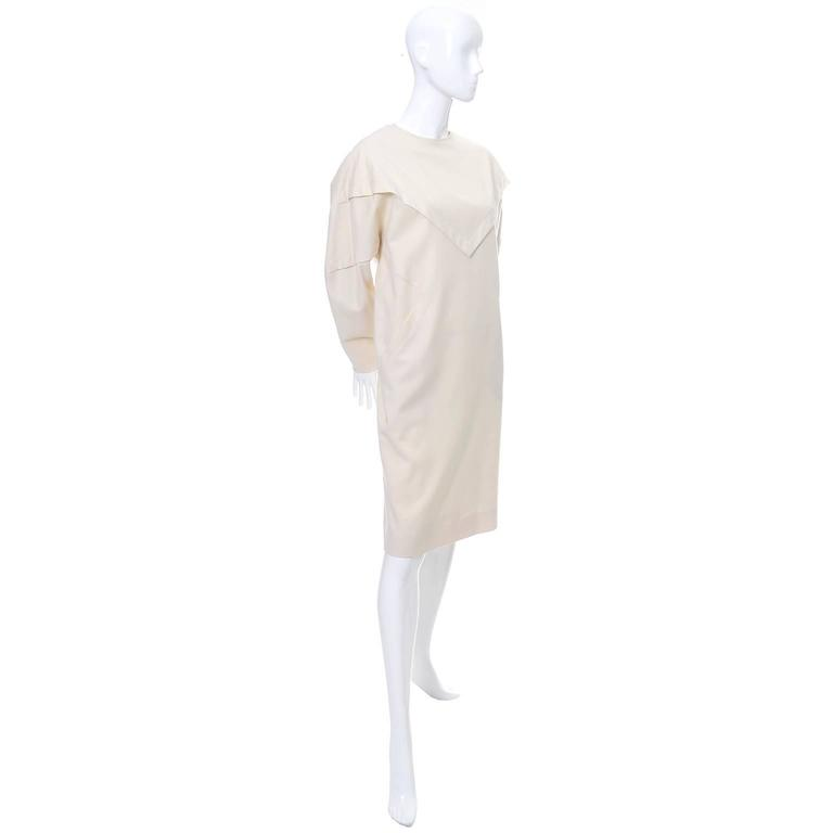 Gray Ronaldus Shamask Avant Garde 1980's Vintage Cream Wool Dress Size 6/8 For Sale