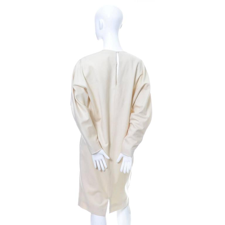 Ronaldus Shamask Avant Garde 1980's Vintage Cream Wool Dress Size 6/8 In Excellent Condition For Sale In Portland, OR