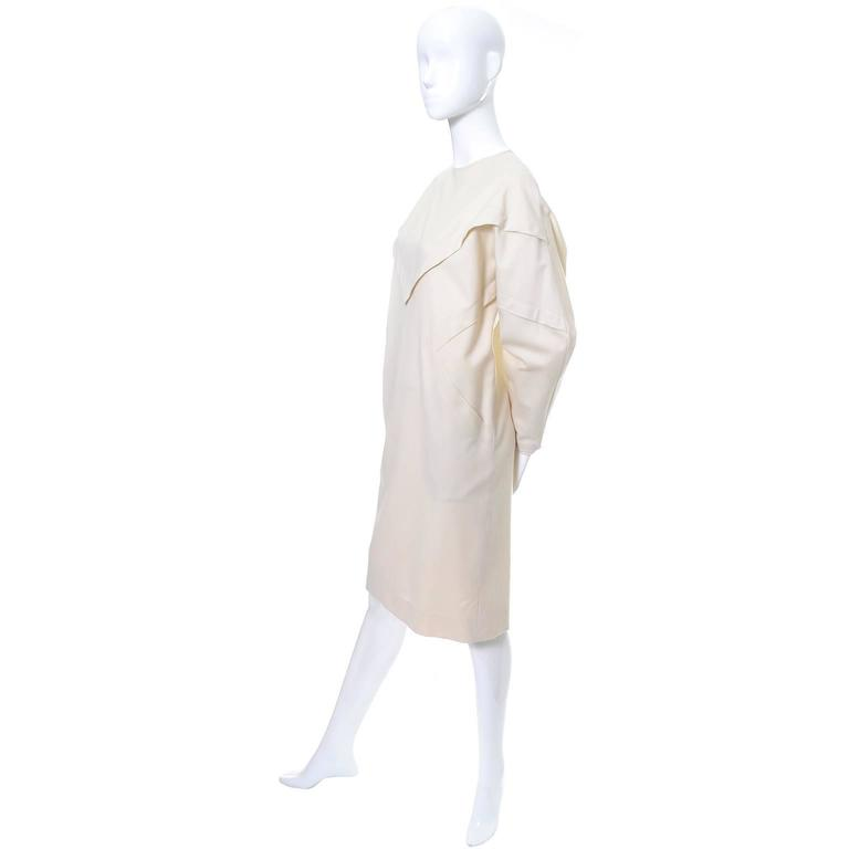 Ronaldus Shamask Avant Garde 1980's Vintage Cream Wool Dress Size 6/8 For Sale 1