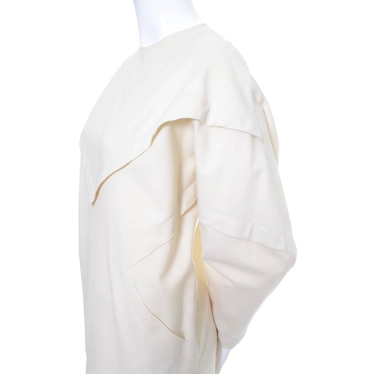 Women's Ronaldus Shamask Avant Garde 1980's Vintage Cream Wool Dress Size 6/8 For Sale