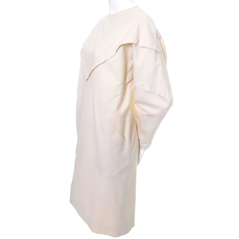 Ronaldus Shamask Avant Garde 1980's Vintage Cream Wool Dress Size 6/8 For Sale 2