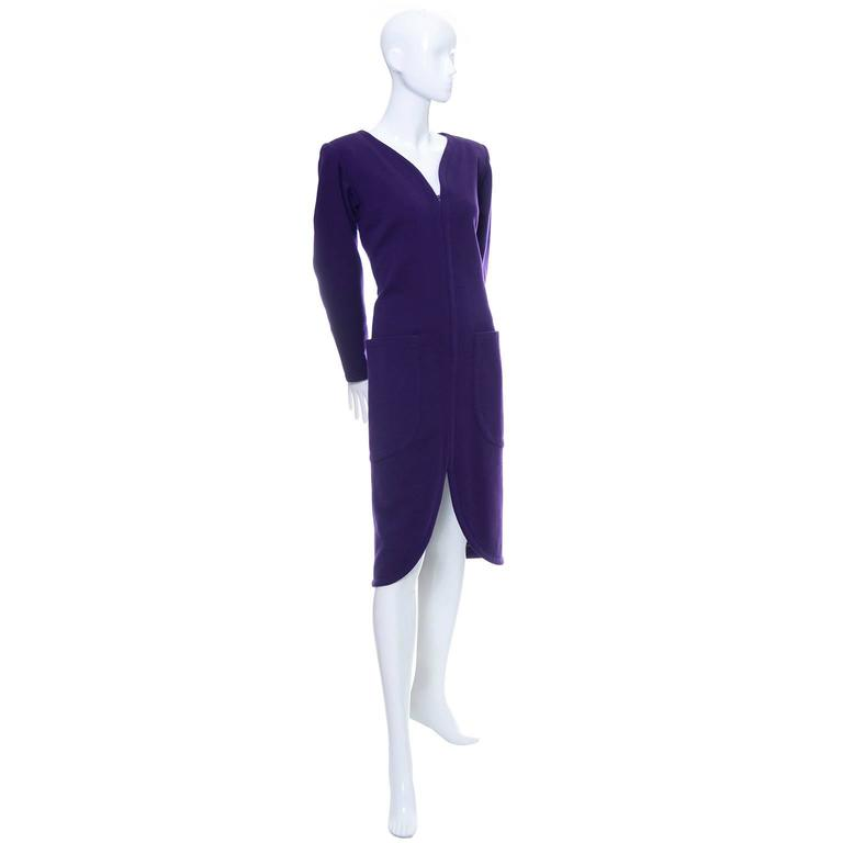 YSL Vintage Dress Purple Wool Pockets Zip Front Yves Saint Laurent Size 36 US 4 3