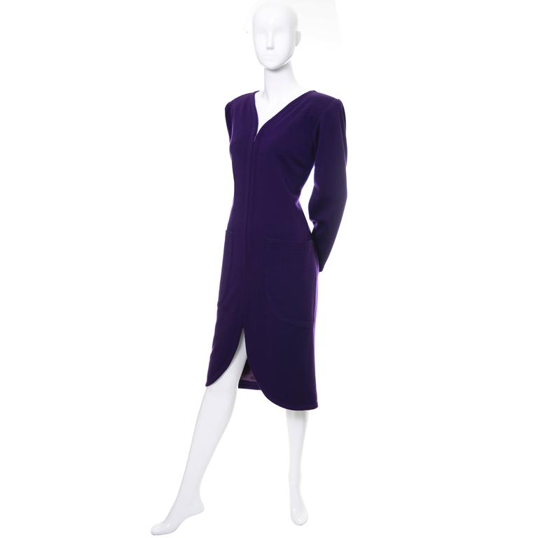 YSL Vintage Dress Purple Wool Pockets Zip Front Yves Saint Laurent Size 36 US 4 2
