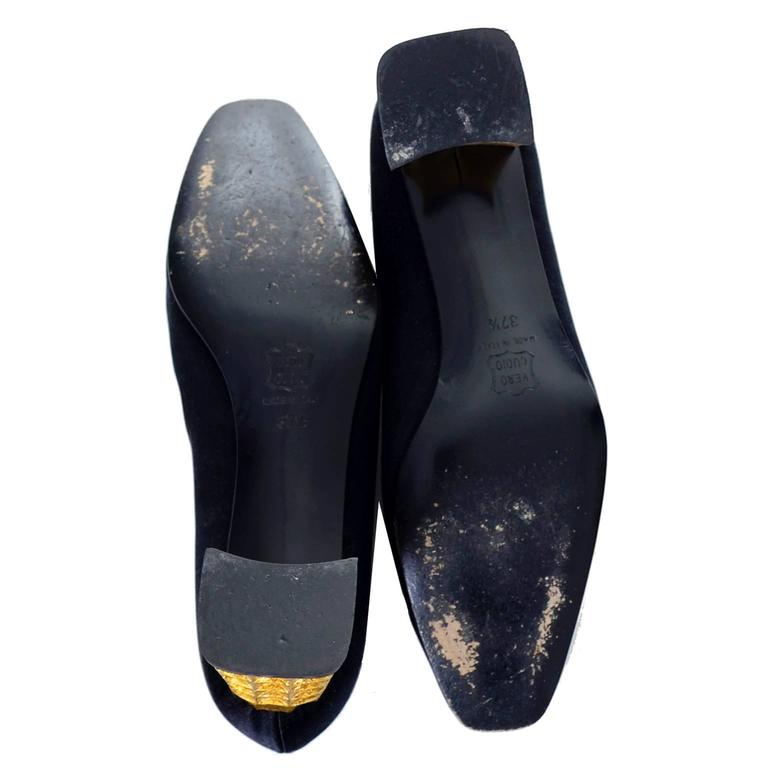 Rare Documented Christian Louboutin Vintage Shoes Gold Leaf Heels 7.5 For Sale 1