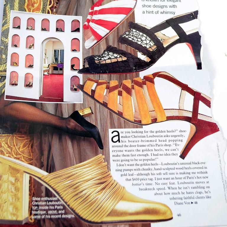 Rare Documented Christian Louboutin Vintage Shoes Gold Leaf Heels 7.5 In Excellent Condition For Sale In Portland, OR